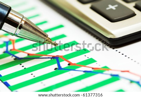 Analysis of business graphs. - stock photo