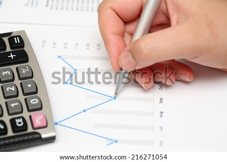 Analysis of financial statements. Business Graph.