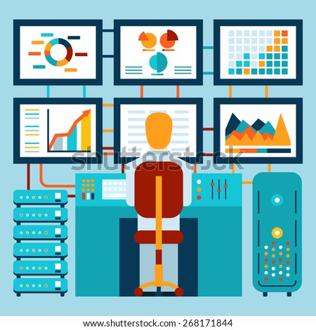 Analysis of information on dashboard in flat style - stock photo