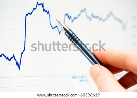 Analysis of stock market graphs. - stock photo