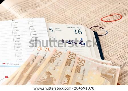Analysis of stock market news financial background - stock photo