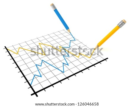 Analysis of stock market success and crisis graph - stock photo