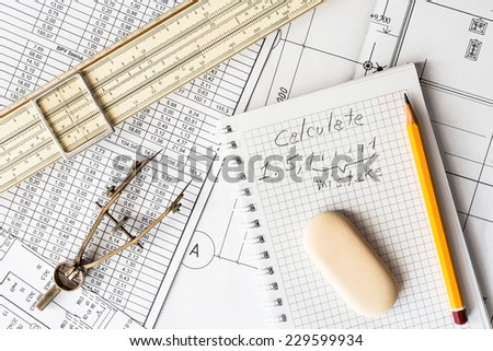 Analysis of the design work, the error in the calculations - stock photo