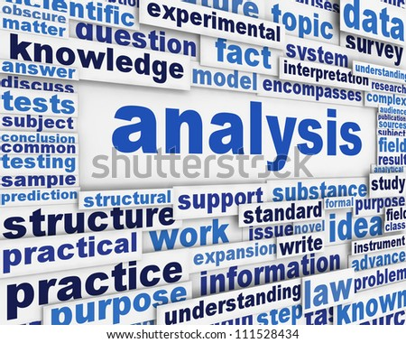 Analysis poster scientific background. Research and development message design - stock photo