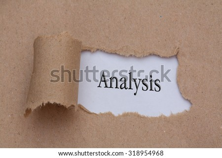 Analysis text concept,torn brown paper - stock photo