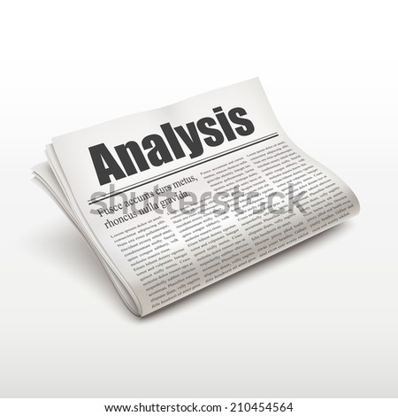analysis word on newspaper over white background