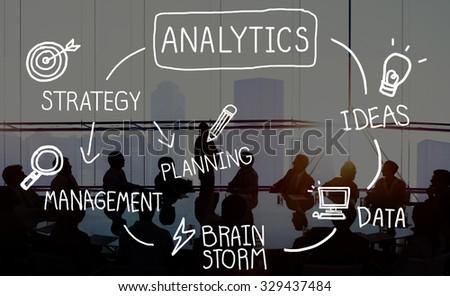 Analytics Comparison Information Networking Management Concept - stock photo