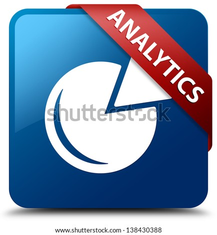 Analytics (Graph icon) glassy red ribbon on glossy blue square b - stock photo