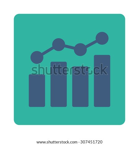 Analytics raster icon. This flat rounded square button uses cobalt and cyan colors and isolated on a white background. - stock photo