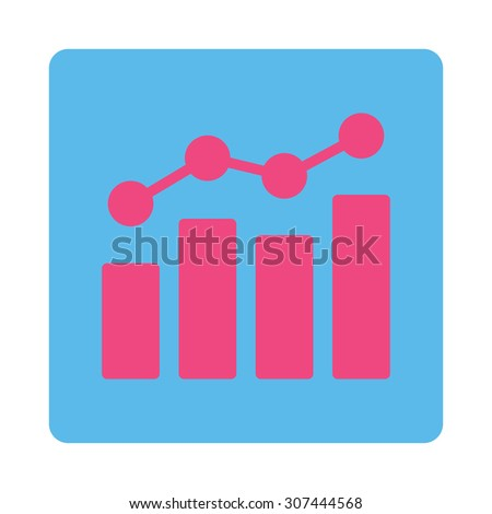 Analytics raster icon. This flat rounded square button uses pink and blue colors and isolated on a white background. - stock photo