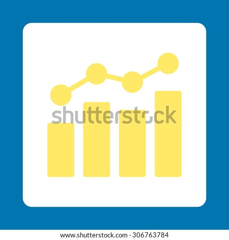 Analytics raster icon. This flat rounded square button uses yellow and white colors and isolated on a blue background. - stock photo