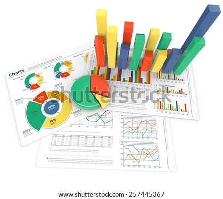 Analyze. Colorful infographics documents and 3D graphs and charts.