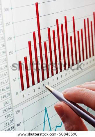 analyzing chart - stock photo