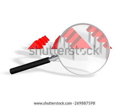 Analyzing housing market abstract illustration with simple 3d houses magnifying glass. - stock photo