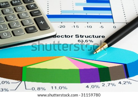 Analyzing of stock market sector structure. - stock photo