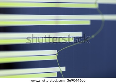 Analyzing stock market from computer screen with a detailed chart. - stock photo