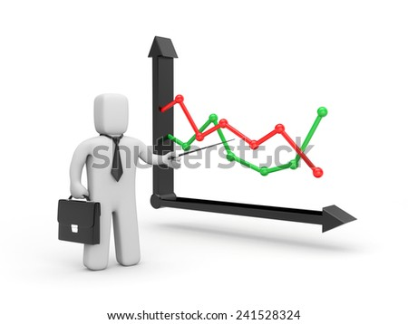 Analyzing the graph - stock photo