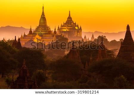 Ananda pagoda at dusk, in the Bagan plain, Myanmar (Burma) - stock photo