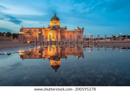 Ananta Samakhom Throne Hall Night  reflection on the water