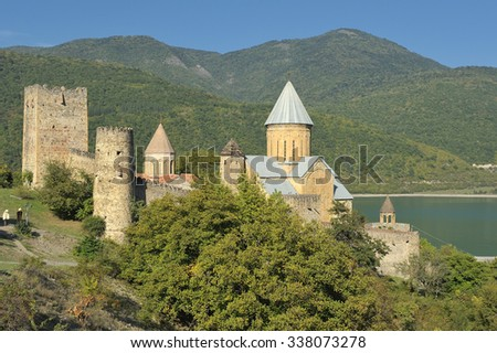 Ananuri fortress in Georgia. - stock photo