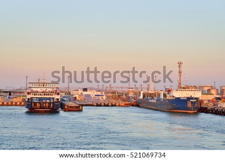 ANAPA, RUSSIA - 2016 12 SEPTEMBER: View of the pier of port of Kavkaz from the sailing ferry. Russia