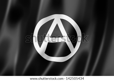 Anarchy flag, three dimensional render, textured - stock photo