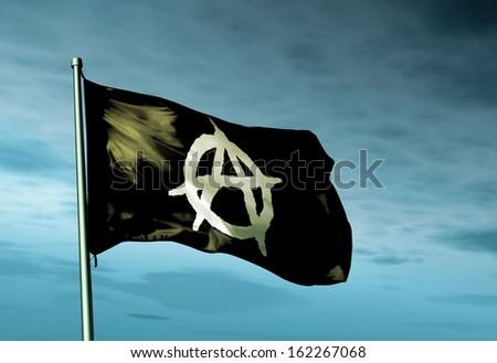 Anarchy flag waving on the wind - stock photo