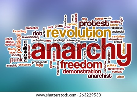 Anarchy word cloud concept with abstract background - stock photo