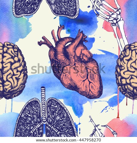 Anatomical seamless pattern with human heart, brain, lungs and skeleton hand. Raster texture for medical stuff or other design. - stock photo