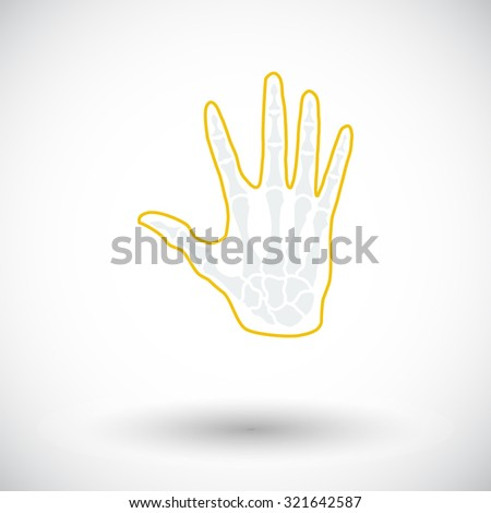 Anatomy hand. Single flat icon on white background.  illustration.
