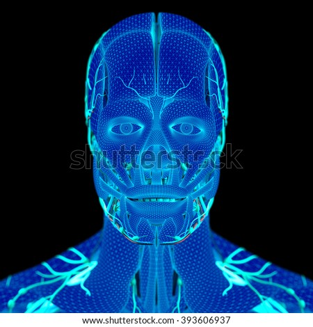 Anatomy wire frame. Human head with vibrant electric colors and fine wire mesh detail.