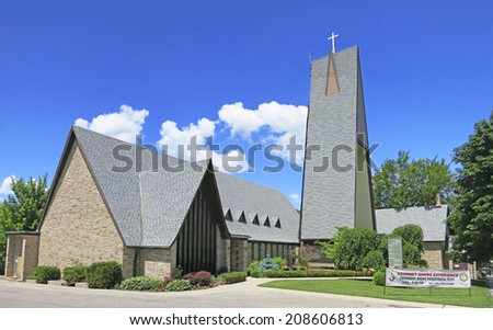 ANCASTER, ONTARIO - JULY 31, 2014: Church. Ancaster is a picturesque and historic community located on the Niagara Escapement, within the greater area of the city of Hamilton, Ontario, Canada.