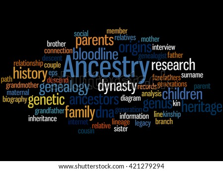 Ancestry, word cloud concept on black background. - stock photo