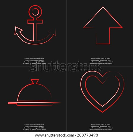 Anchor, Arrow directed upwards, Tray, Heart icon sign. Style red neon symbols with space for your text Rasterized version - stock photo