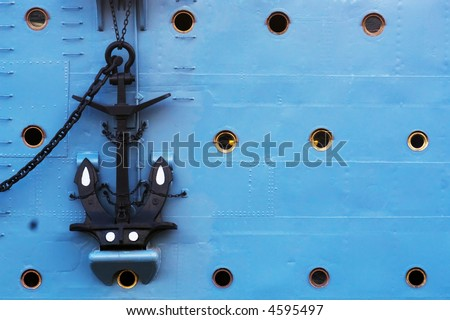 Anchor in a military ship - stock photo
