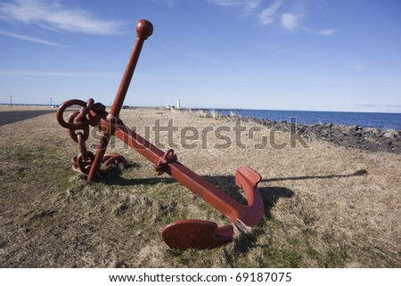 Anchor in Reykjavik Harbor - stock photo