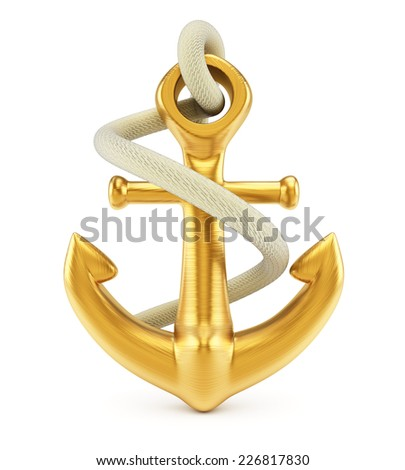 Anchor isolated on white background. 3d rendering image - stock photo
