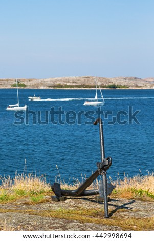 Anchor located on land with views of the archipelago - stock photo