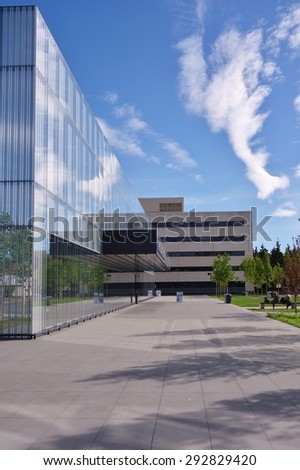 ANCHORAGE, ALASKA â??22 MAY 2015- Opened in 1968, the Anchorage Museum, one of the top tourist attractions in Alaska, displays objects and art from Alaska and the big North.