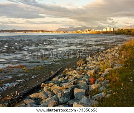 Anchorage at Sunset - stock photo