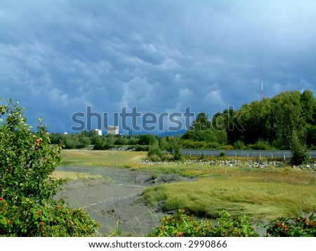 Anchorage Thunderstorm, Alaska - stock photo