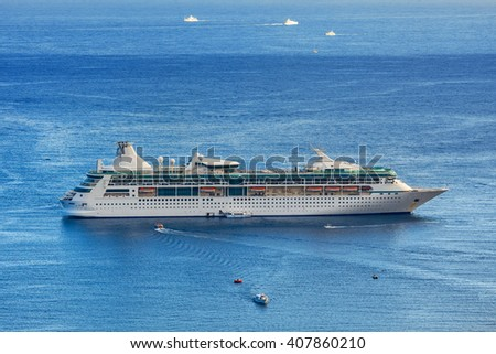 Anchored cruise ship on Mediterranean sea in France. - stock photo