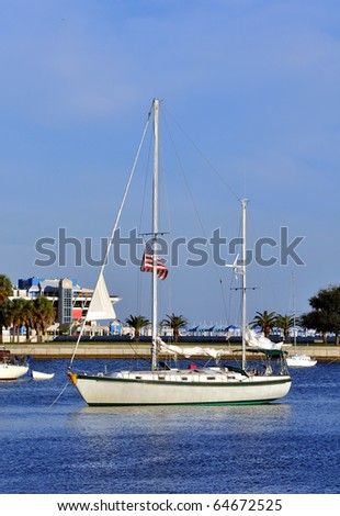 Anchored sailboat in the St. Pete Bay, Florida - stock photo