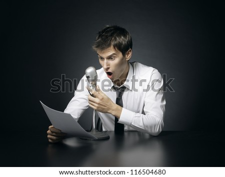 Anchorman screams crazy news - stock photo