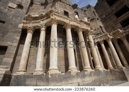 Ancient amphitheater (fragment), Bosra. Syria - stock photo
