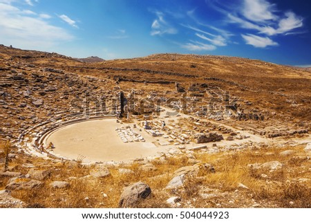 Ancient amphitheater on Delos island, Greece