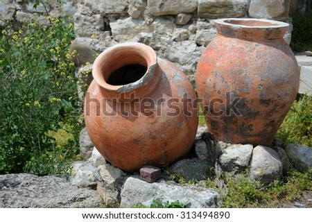 Ancient amphorae in the town of Nesebar in Bulgaria - stock photo