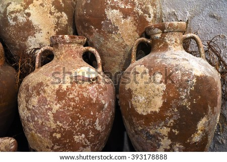 Ancient Amphoras in Bodrum Castle - stock photo