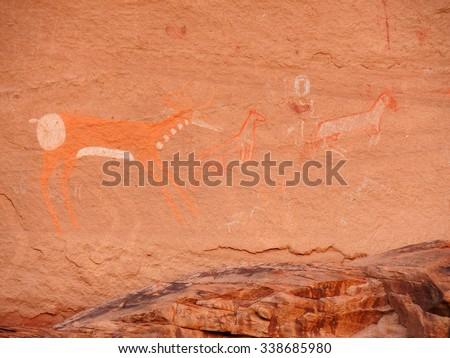 ancient anasazi pictographs in canyon de chelly,  arizona - stock photo