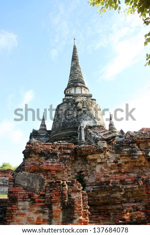 Ancient and ruined architecture at Wat Phrasrisanpet, Ayutthaya, Thailand.